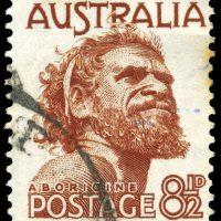 AUSTRALIA - CIRCA 1982: A Stamp printed in AUSTRALIA shows the portrait of an Aborigine, series, circa 1982