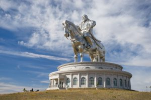 The world's largest equestrian statue. The leader of Mongolia, Genghis Khan.